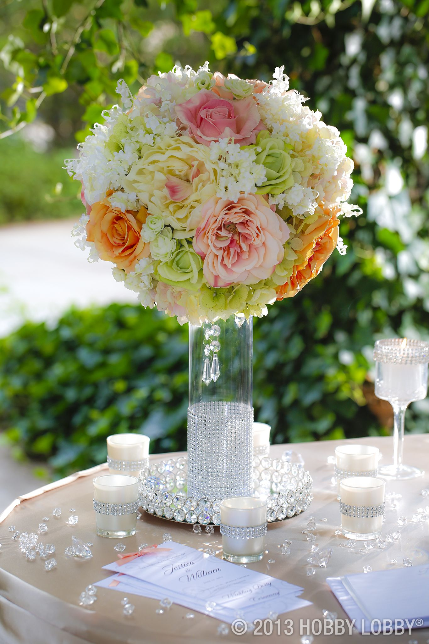 Cylinder Vase Centerpiece Via Hobby Lobby Wedding