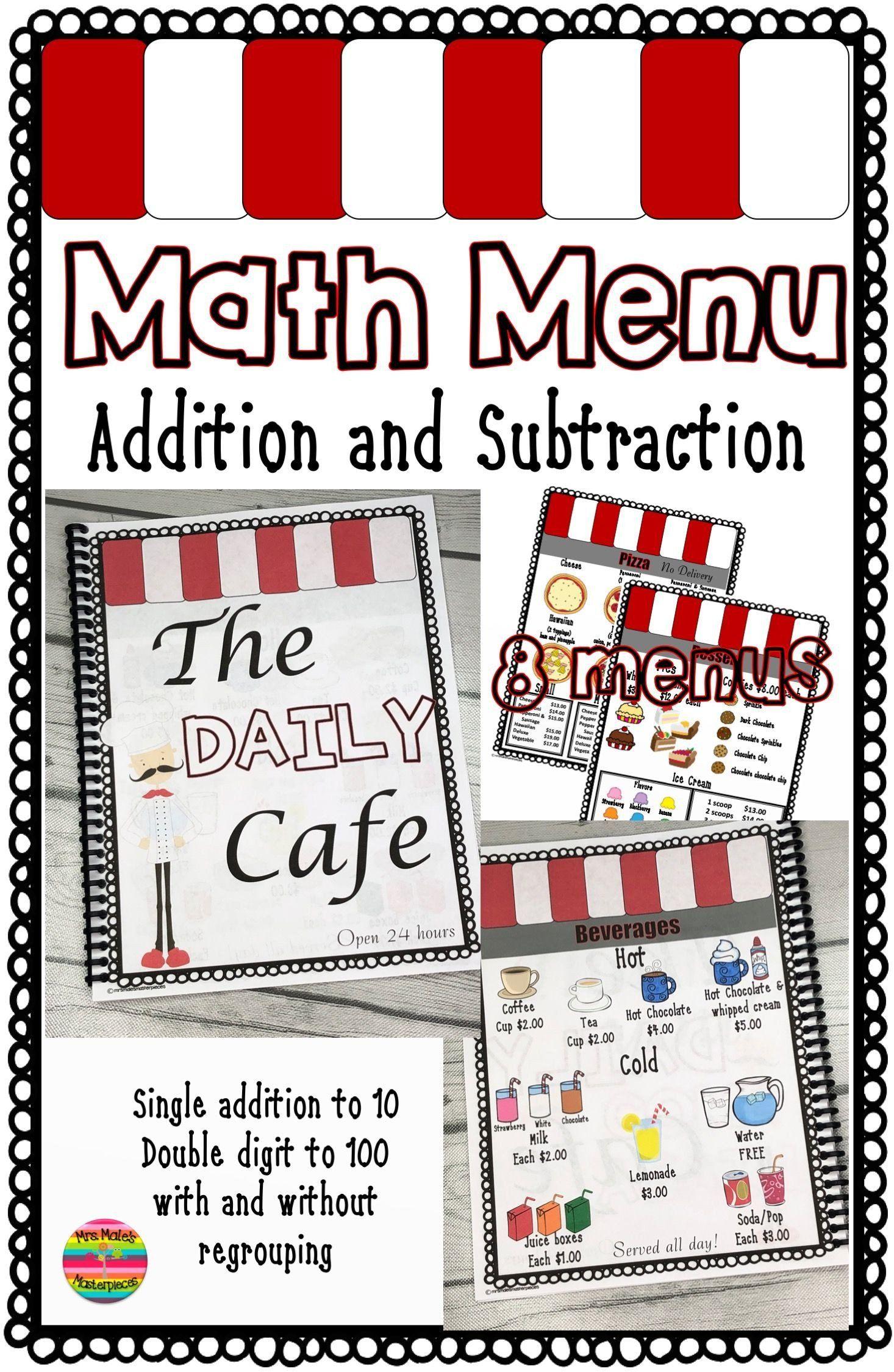 Menu Math Worksheets Math Worksheets For 3rd Grader