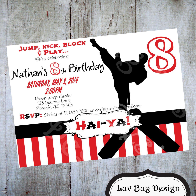 Karate Birthday Party Invitation Printable invite by Luv Bug Design ...