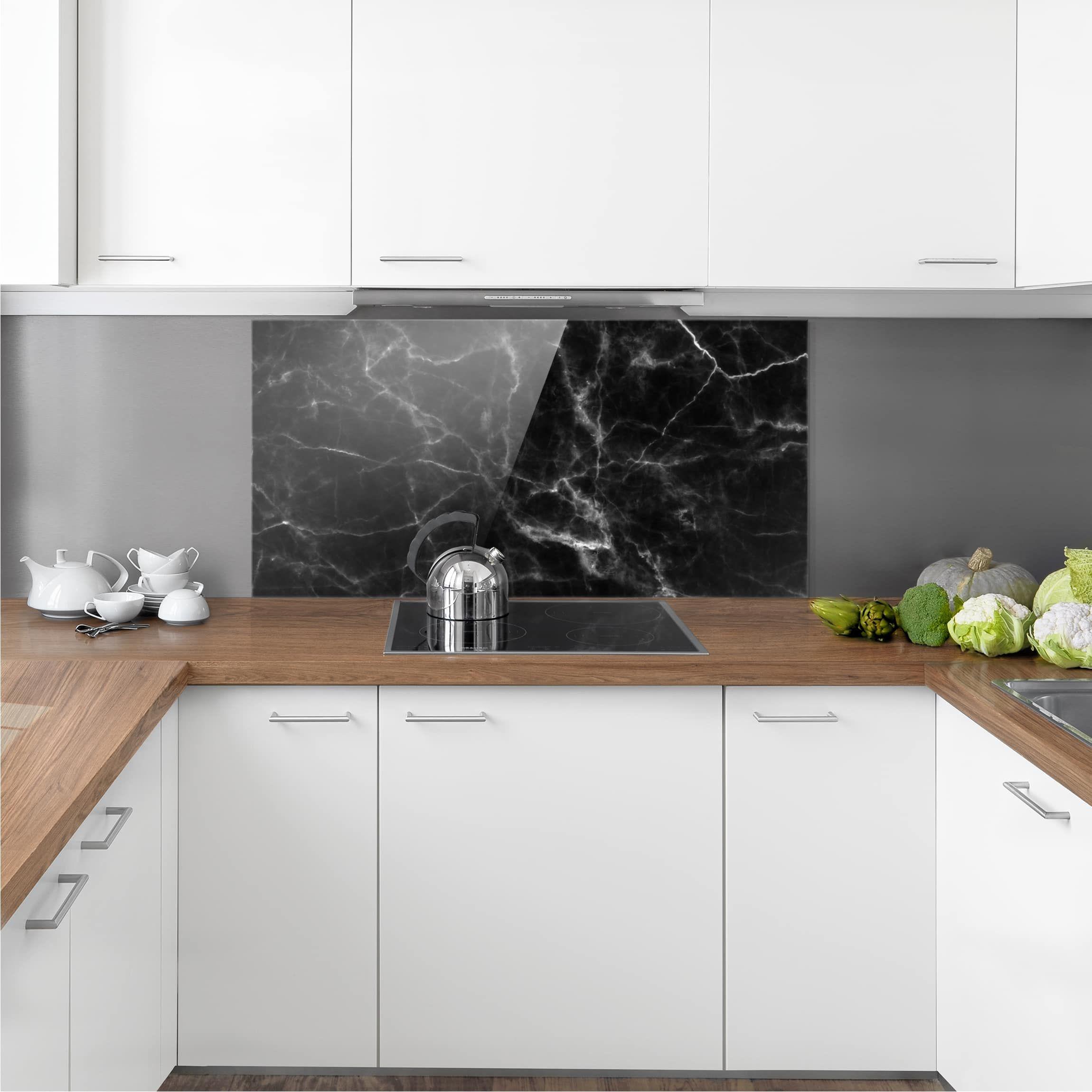 Paraschizzi Per Cucina In Vetro.Paraschizzi In Vetro Nero Carrara Orizzontale 1 2 Nel