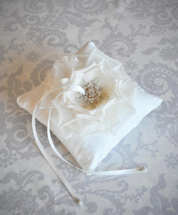 Ring Bearer Pillow Wedding Ring Pillow with Handmade Silk Flower