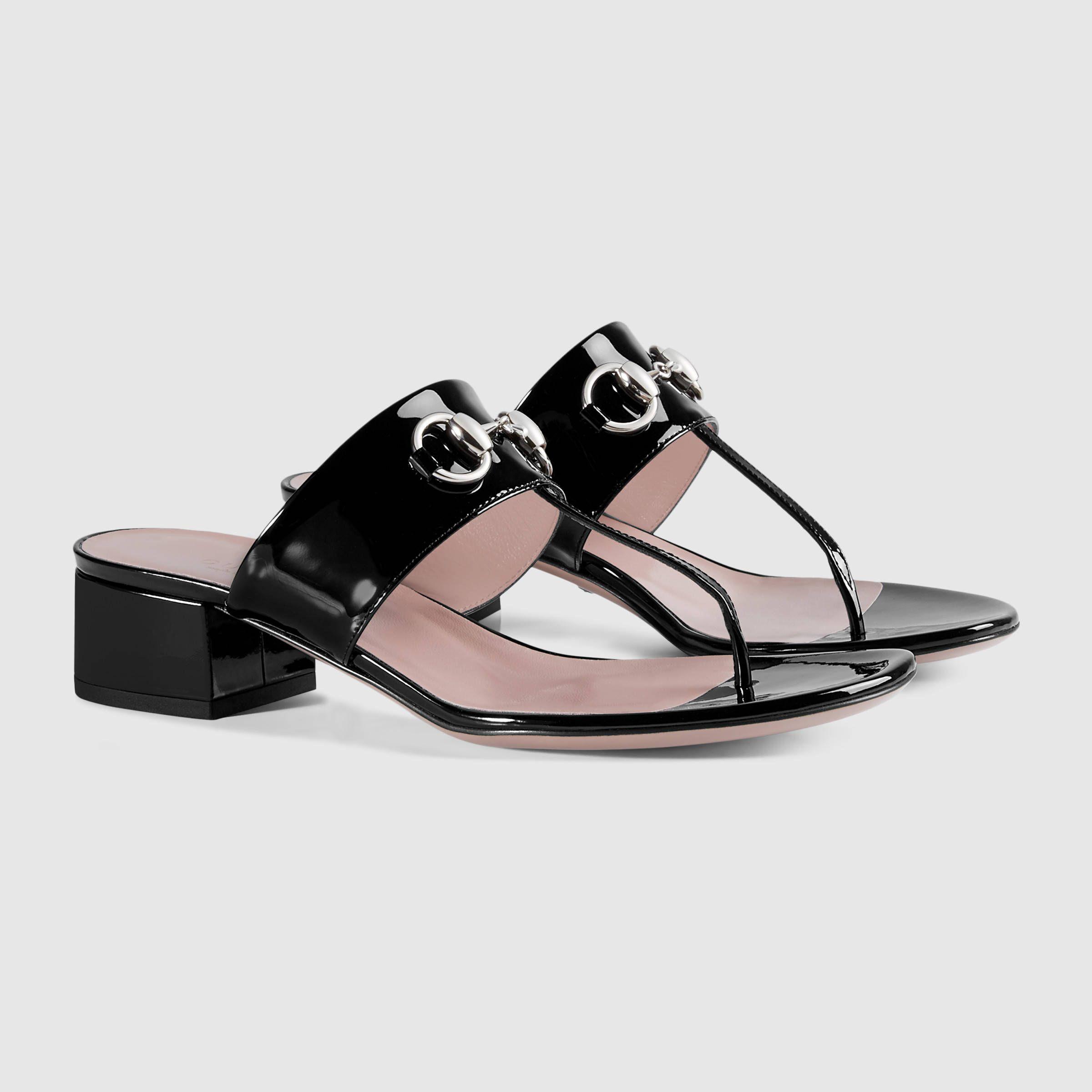 Gucci Women - Patent leather horsebit sandal - 370460BNC001000