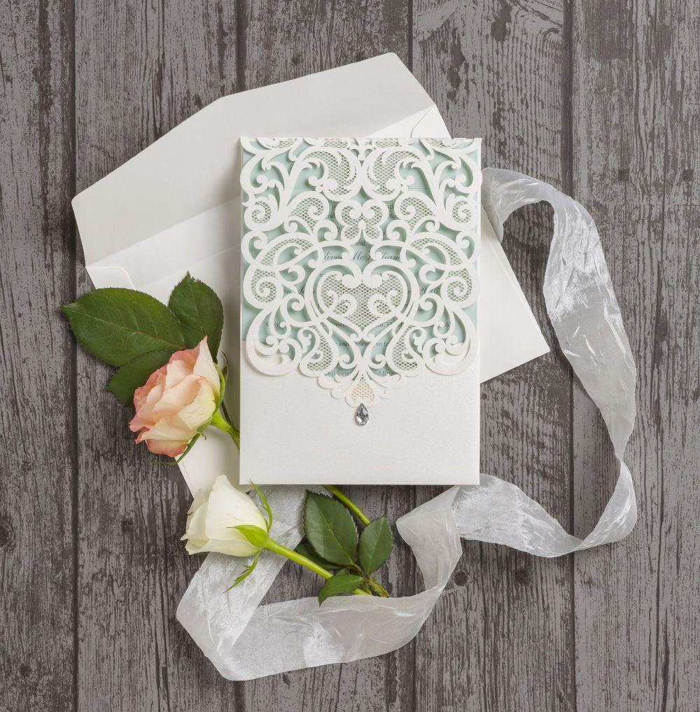 Diamante Laser Cut Pocketfold Personalised Wedding Invitation - With ...