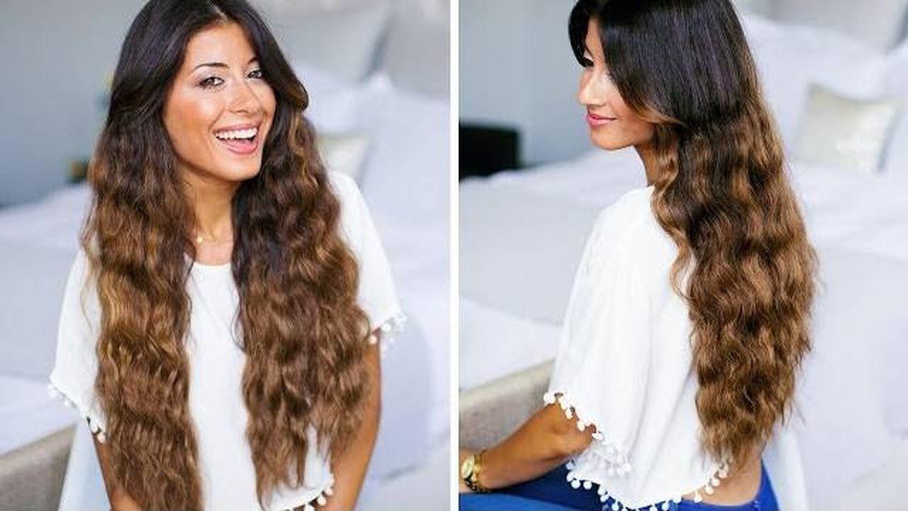 كيفية تجعيد الشعر الطويل باستخدام المثبت فى 5 دقائق طريقة عمل تسريحة شعر كيرلى مجعد Heatless Curls Luxy Hair Loose Waves Long Hair