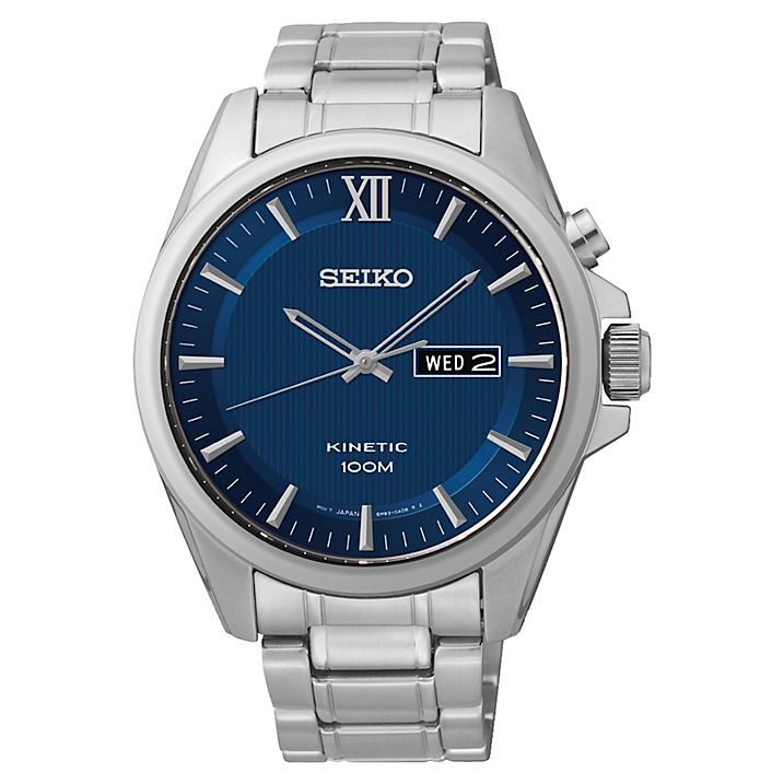 Buy Seiko SMY159P1 Men's Core Kinetic Bracelet Strap Watch, Silver/Blue Online at johnlewis.com