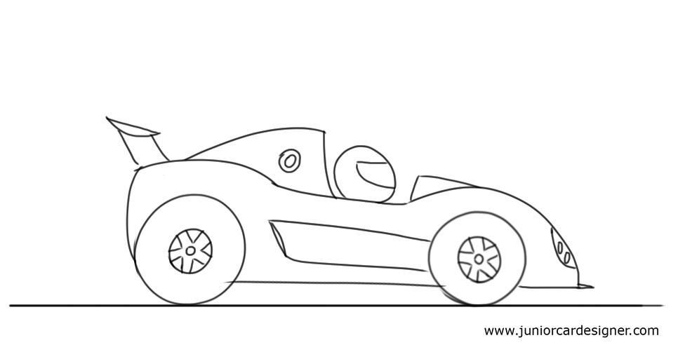 How To Draw A Cartoon Race Car Car Drawing Kids Cartoon Car