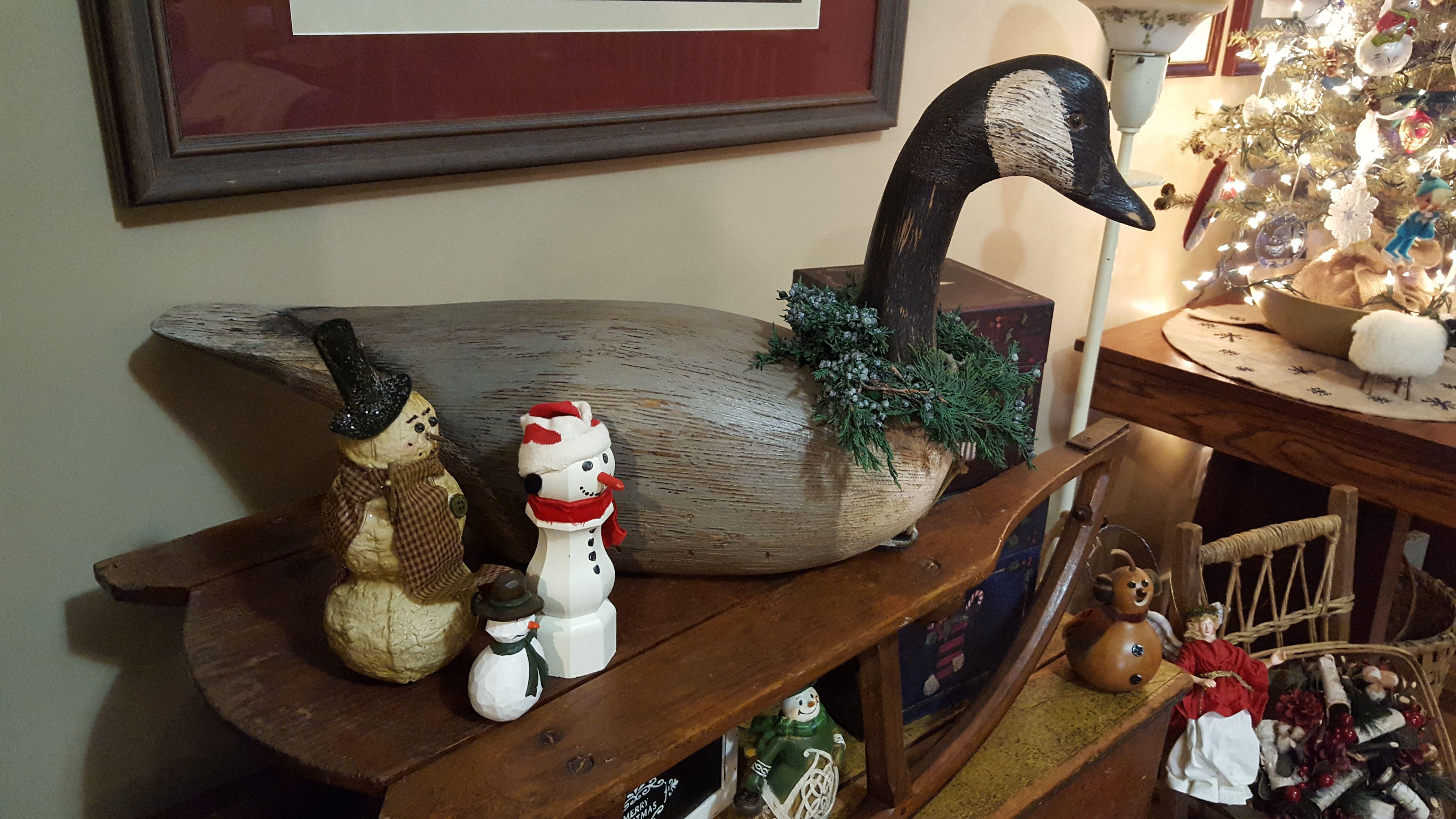 Canada goose and snowmen, Christmas 2017 Primitive