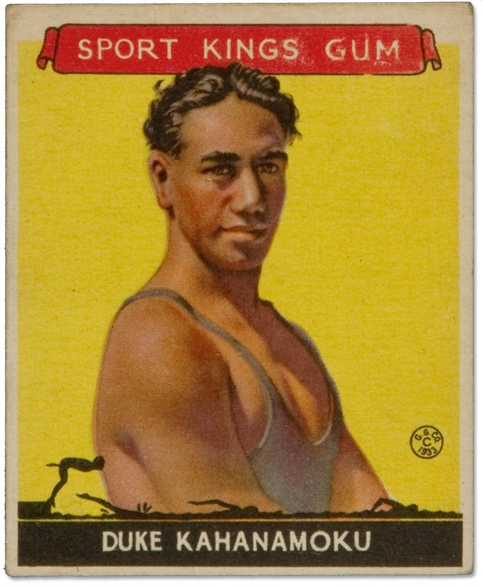 Duke Kahanamoku :: 1933 Sport Kings Card |  Duke is the father of surfing. But he also was an Olympic swimmer, winning gold in the 1912 Stockholm Summer Olympics.