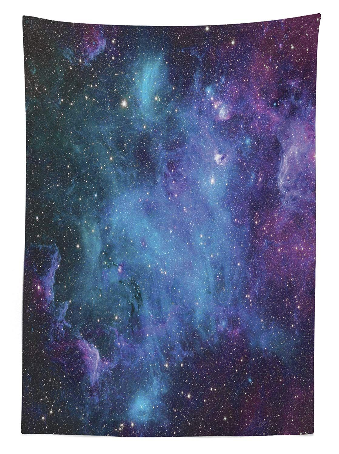 Ambesonne Outer Space Tablecloth, Galaxy Stars in Space Celestial Astronomic Planets in The Universe Milky Way, Rectangular Table Cover for Dining Room Kitchen Decor, 60