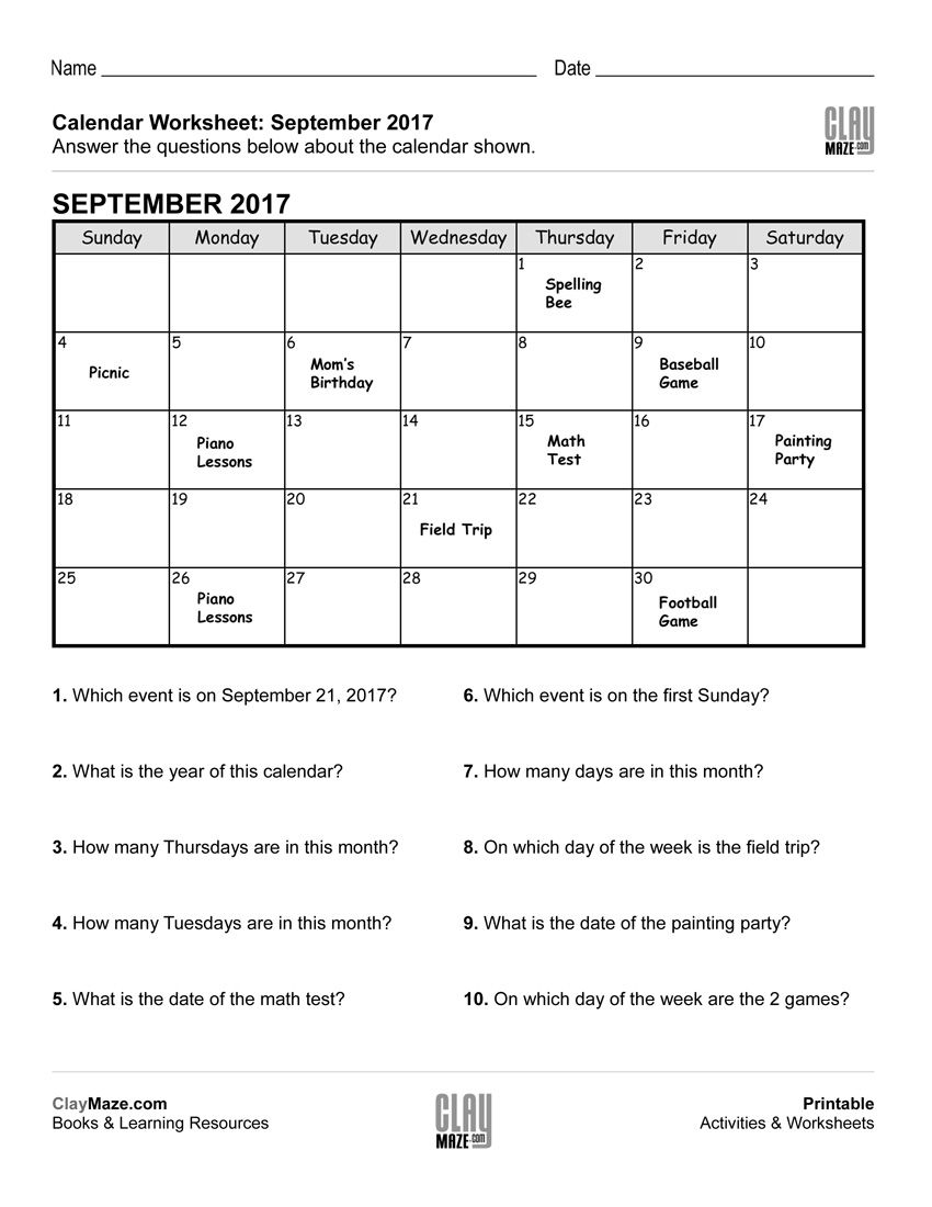 This worksheet features a calendar with events posted on different dates.  Following that are questions about …   Calendar worksheets [ 1100 x 850 Pixel ]