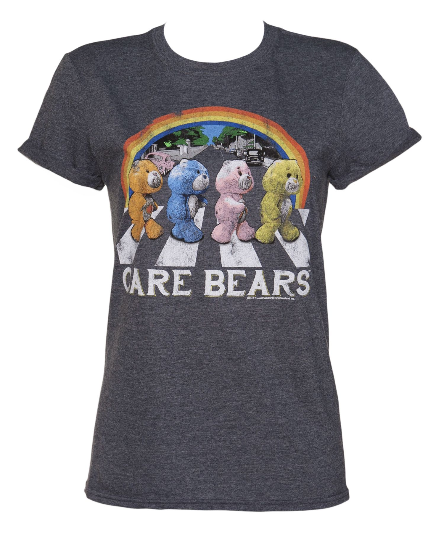 Ladies Care Bears Abbey Road Rolled Sleeve Boyfriend T ...