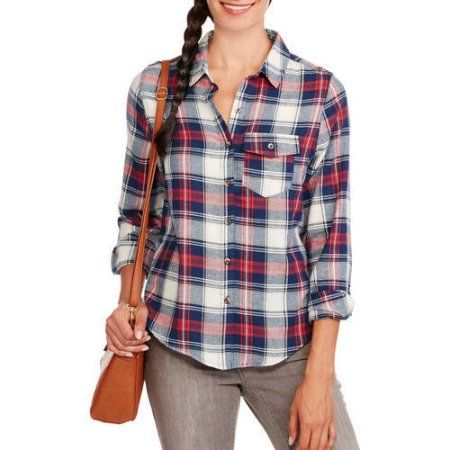 Brooke Leigh Women's One Pocket Lightweight Flannel, Size: Medium, Red