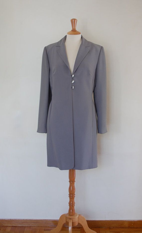 90s High Fashion 3/4 Grey Jacket Triacetate Single by flyingcloset