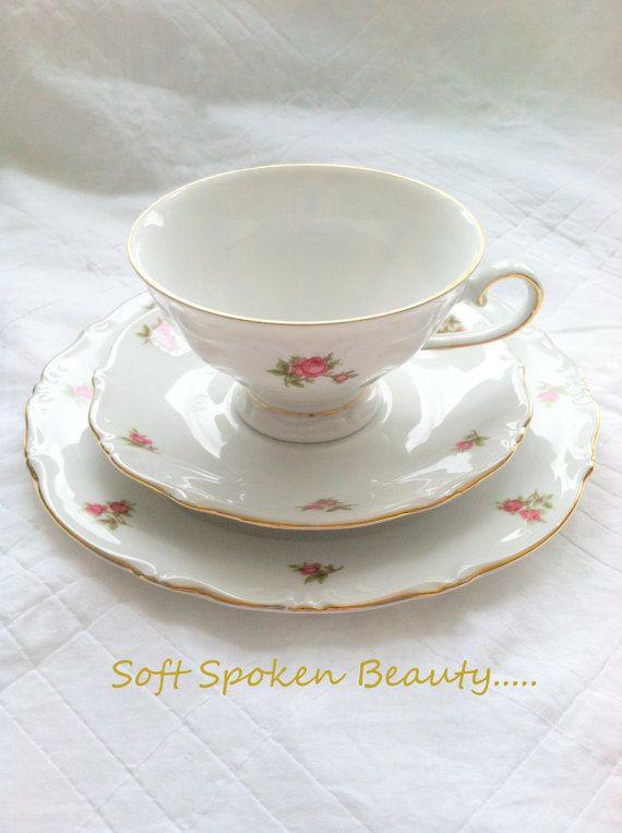 Vintage Bavaria Germany Footed Tea Cup & Saucer by MariasFarmhouse, $65.00