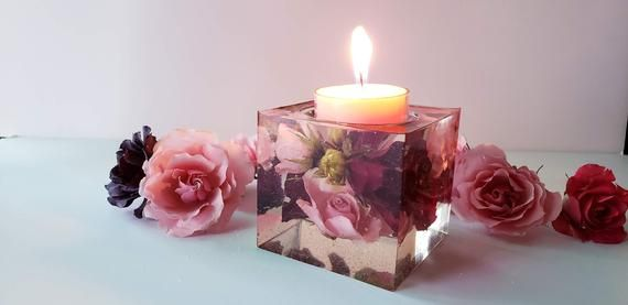 Photo of Preserved Bridal Bouquet Candle Holder Keepsake.Wedding Flowers Resin Paperweights.Wedding anniversary.