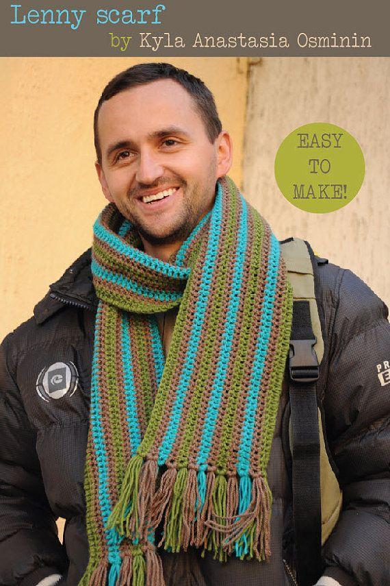 Crochet scarf pattern Mens scarf pattern Striped scarf pattern Easy ...