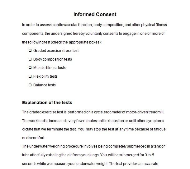 Informed Consent Form For You Or Your Clients  Personal Trainer