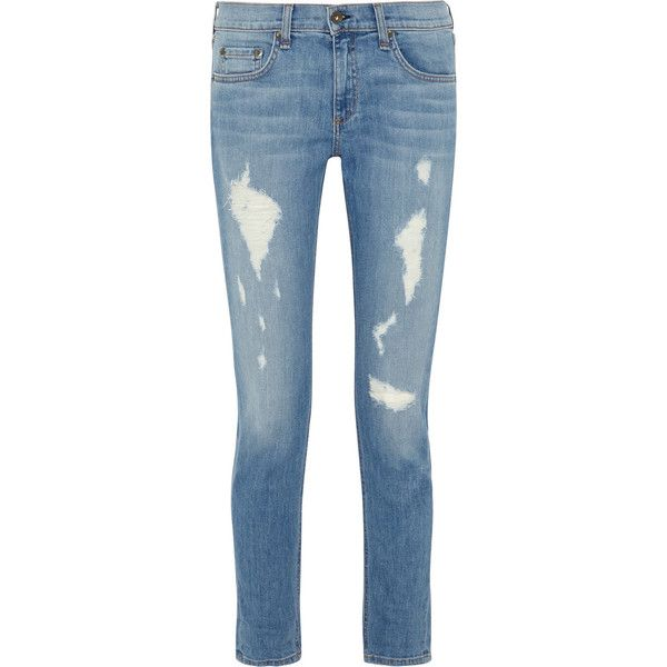 Rag & bone The Dre distressed mid-rise slim boyfriend jeans ($132) ❤ liked on Polyvore featuring jeans, pants, bottoms, light blue, blue ripped jeans, light blue jeans, destroyed jeans, slim fit boyfriend jeans and ripped jeans