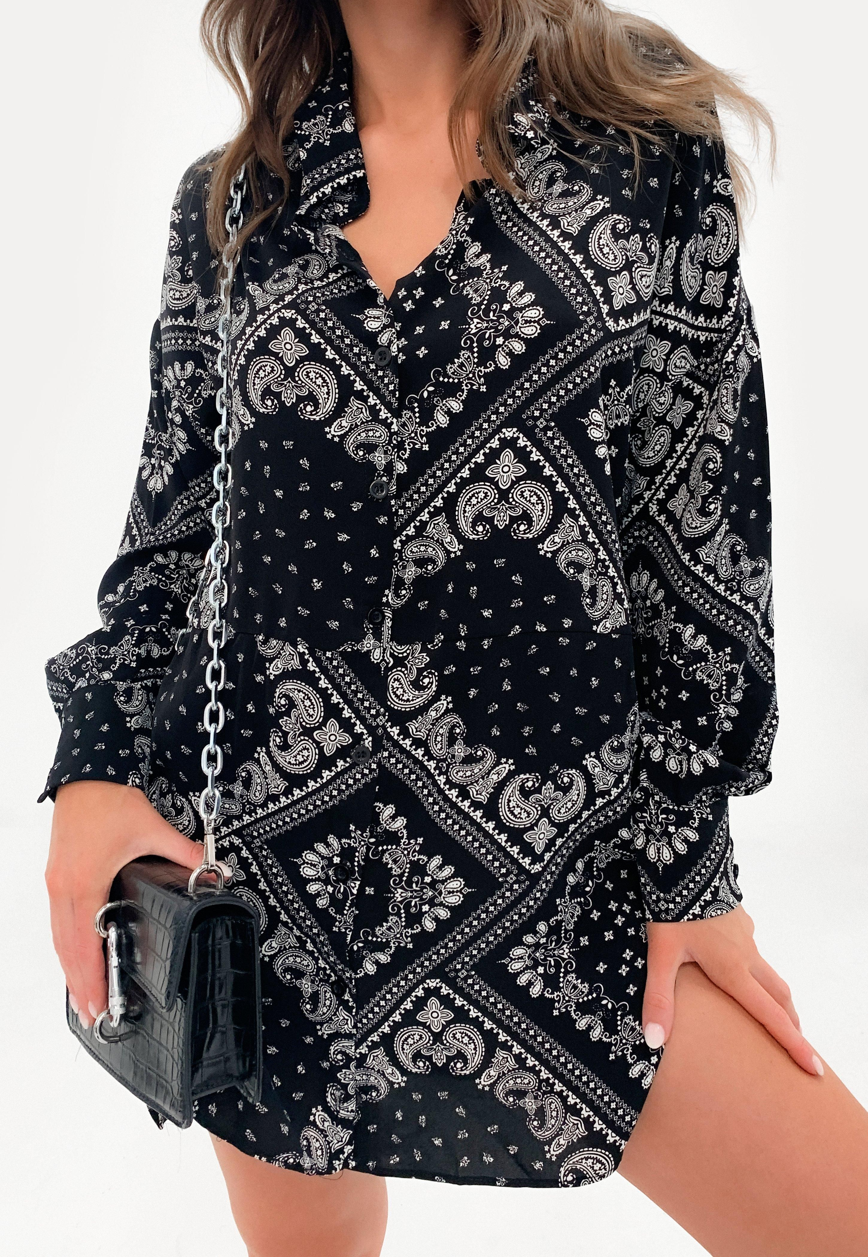 Missguided Black Bandana Print Oversized Dip Back Shirt Dress Bandana Print Dress Shirt Sleeves Long Sleeve Shirt Dress [ 4200 x 2900 Pixel ]