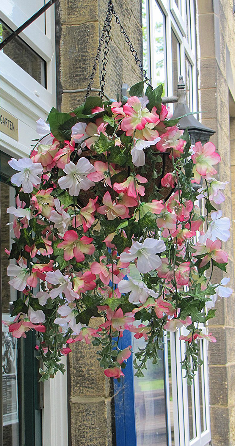 Outdoor Artificial Flowering Plant In Basket Fake Flowers