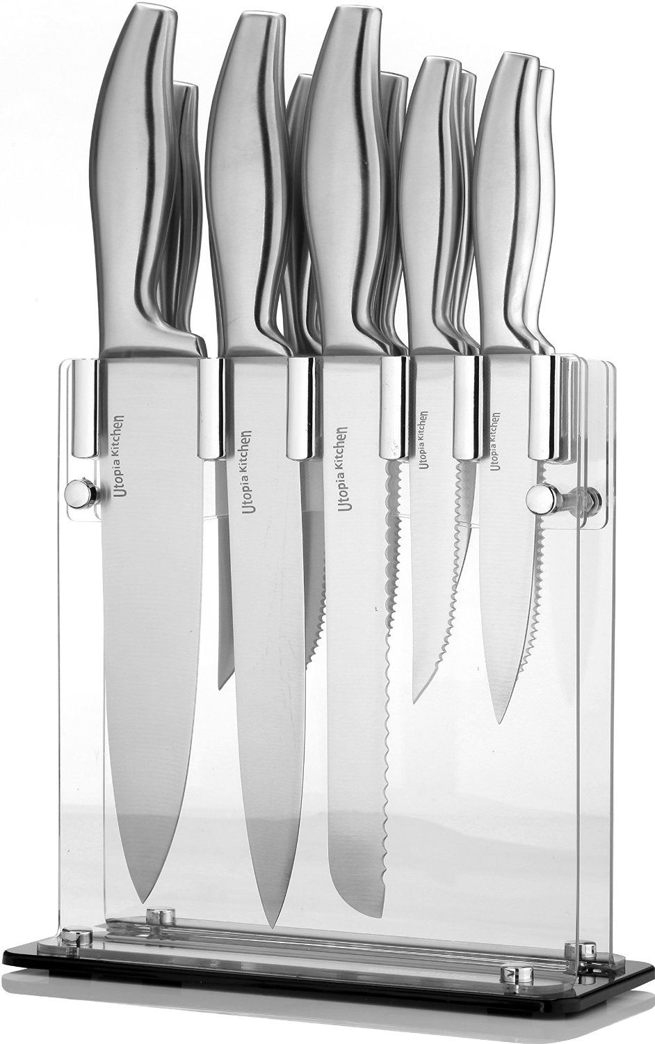 amazon com premium class stainless steel kitchen 12 knife set chefs knife special price premium class stainless steel kitchen 12 knife set with acrylic stand 8 chef knife 8 bread knife 8 carving knife 5 utility knife