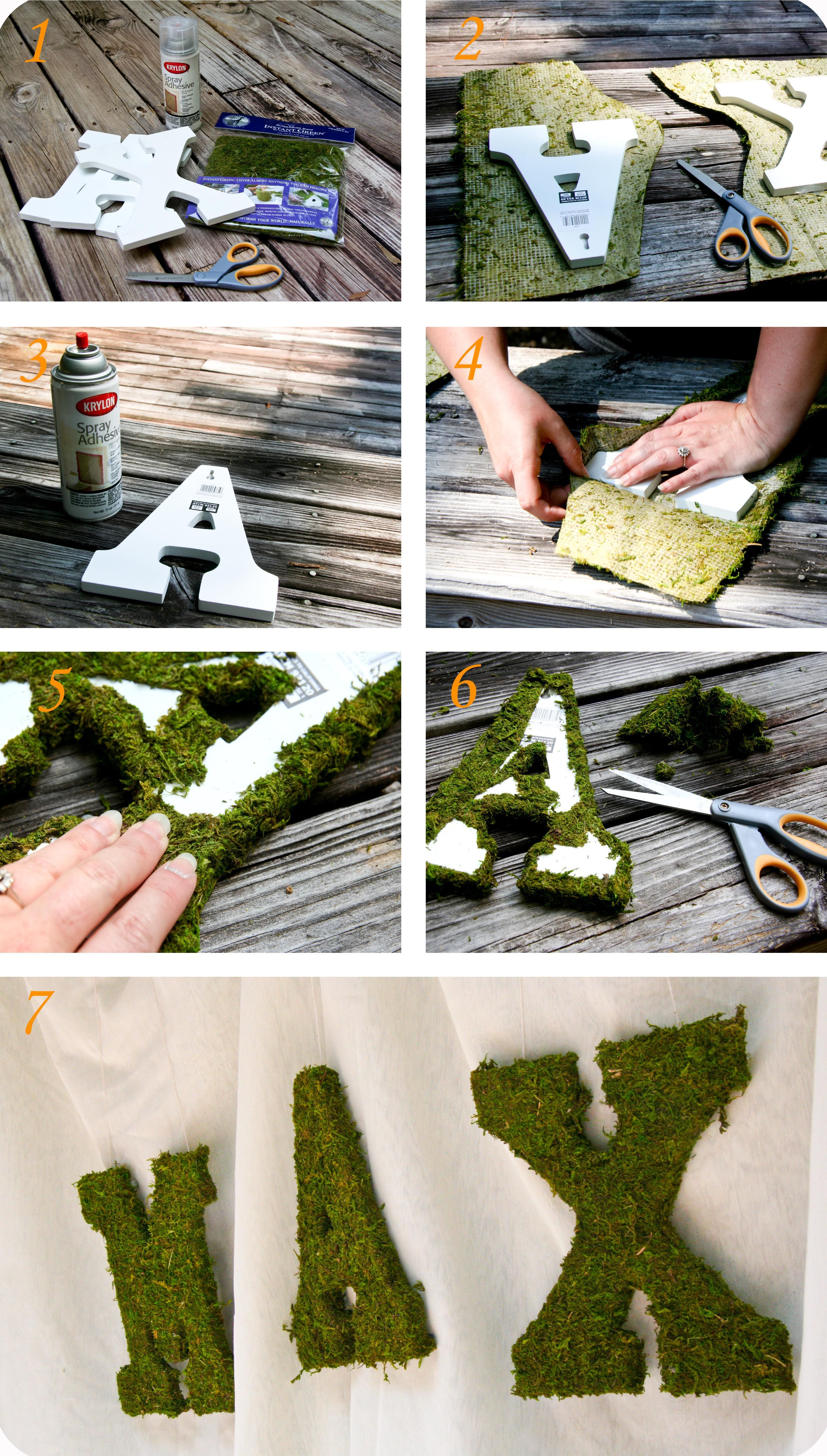 Moss Covered Letters Woodsy Party Tutorial Two Moss Letters  Moss Covered Letters