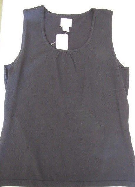 $38 Chico's Sleeveless Size 1 (8-10) Black Stretch Knit Tank Top NWT   #Chicos #KnitTop