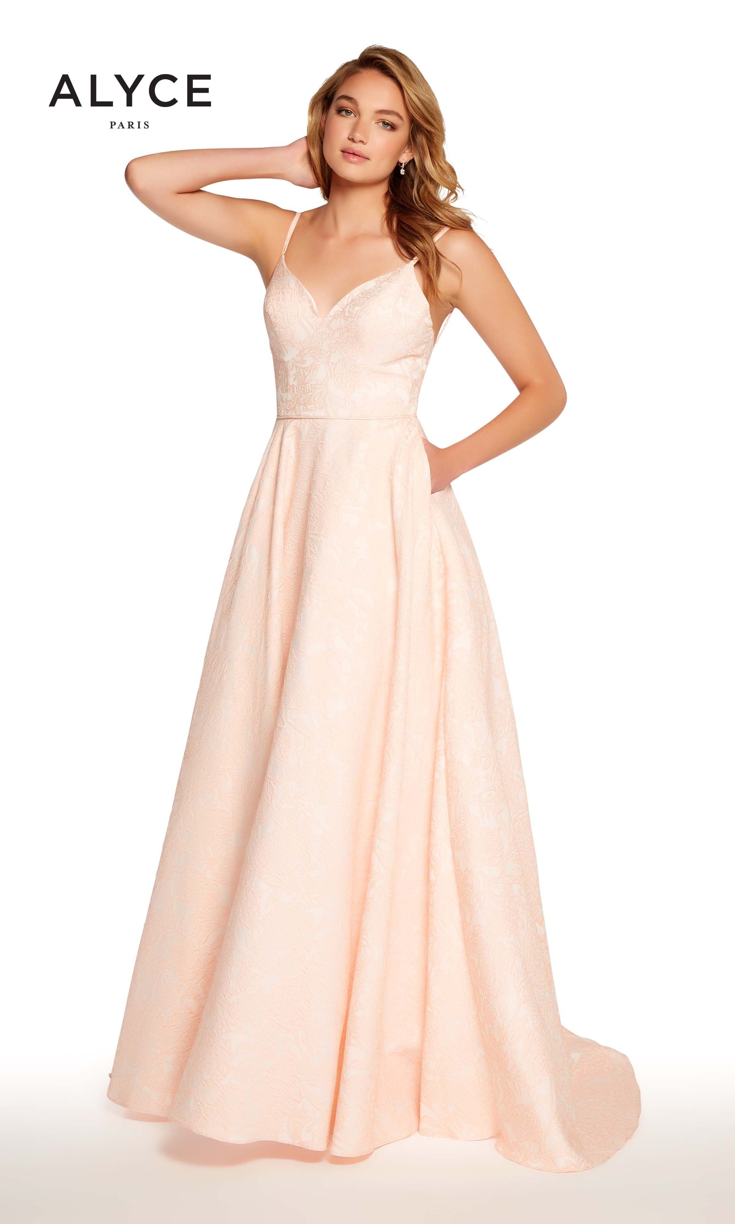 Wedding dress donations for military brides  Alyce  Light Coral Ball Gown with Pockets and Spaghetti Straps