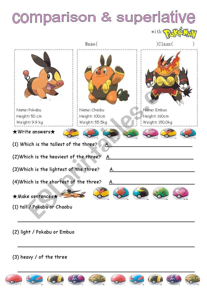 Comparative Superlative With Pokemon 2 Activity Sheets For Kids Classroom Themes Pokemon [ 1169 x 826 Pixel ]