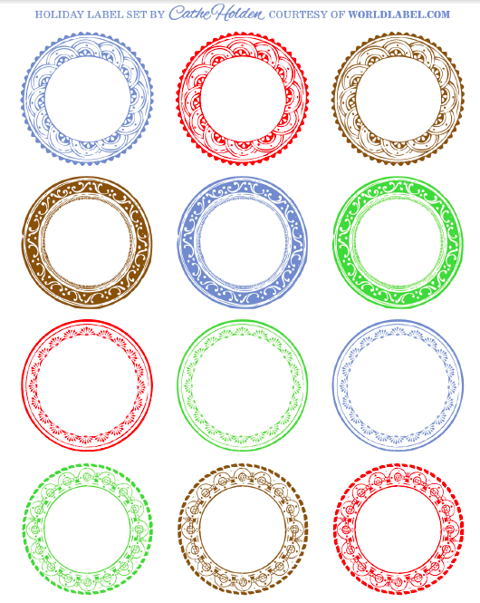 Free Vintage Round Labels For All Your Gifts Part Of A Label Kit For Festive Holidays Printable Label Templates Labels Printables Free Holiday Labels