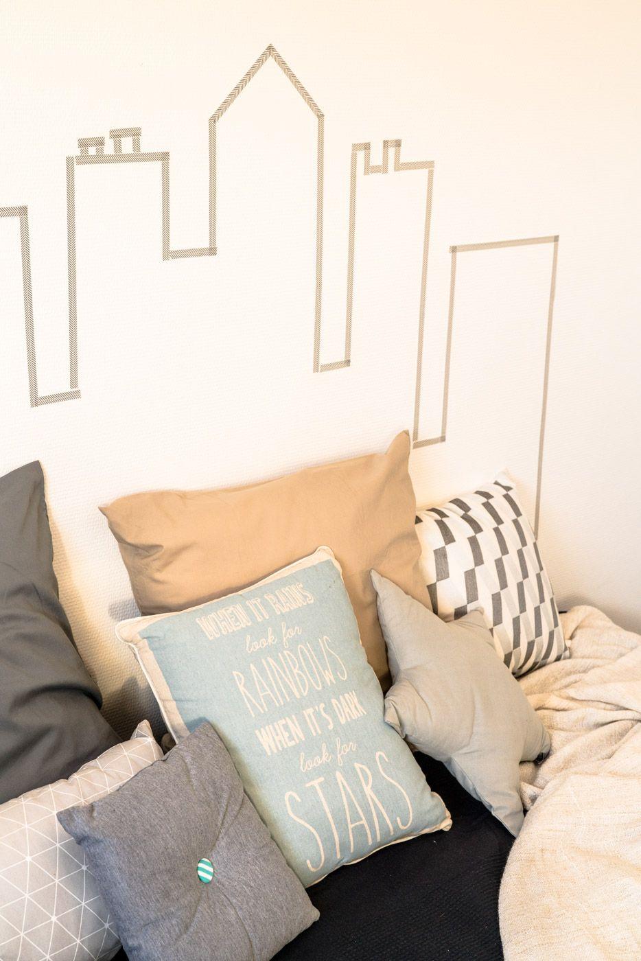 Home Staging Chambre Adulte chambre enfant masking tape decoration tete de lit diy home