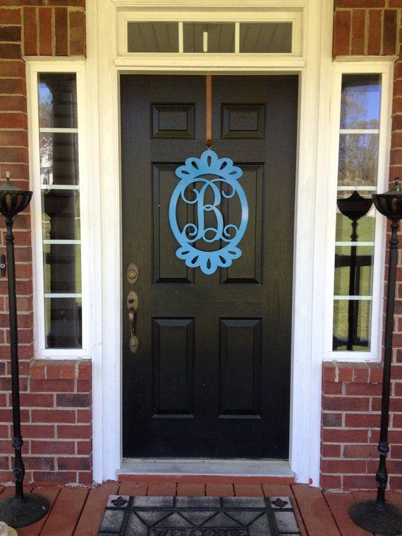 Monogram Door Wreaths Hangers Custom Metal Signs  Decor By  HouseSensationsArt