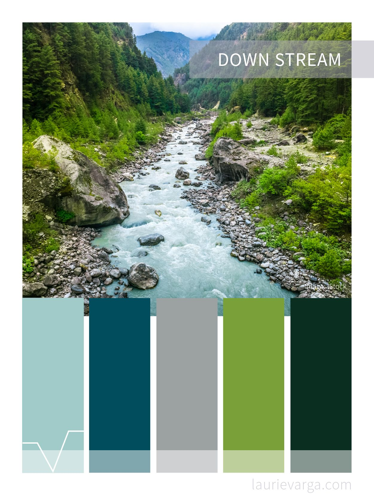 Cool Stream Color Palette Green, Forest, Navy Blue And Aqua