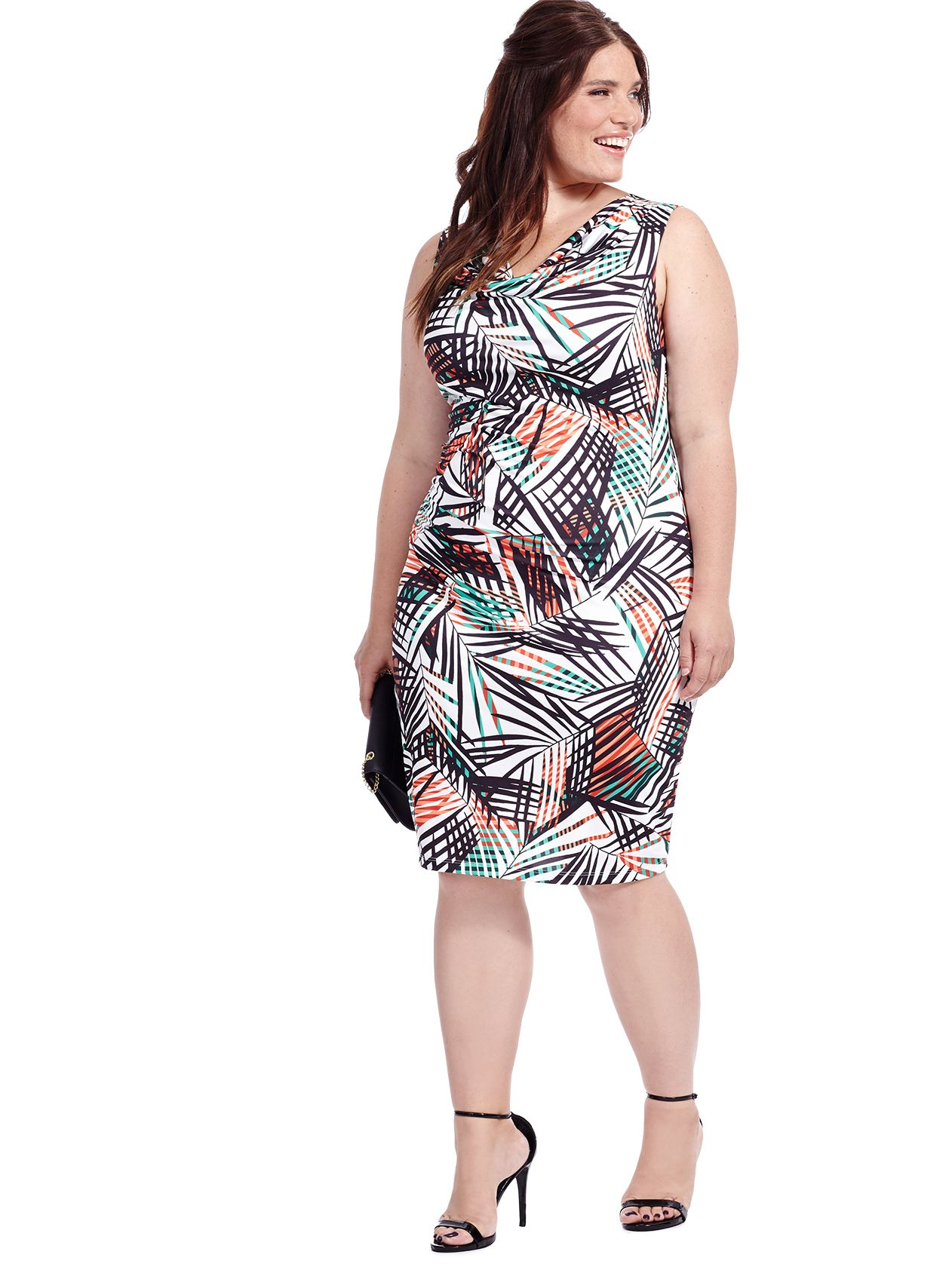 2844d6ec6a2 Tropical Fern Ruched Dress by Triste Available in sizes 0X-5X ...