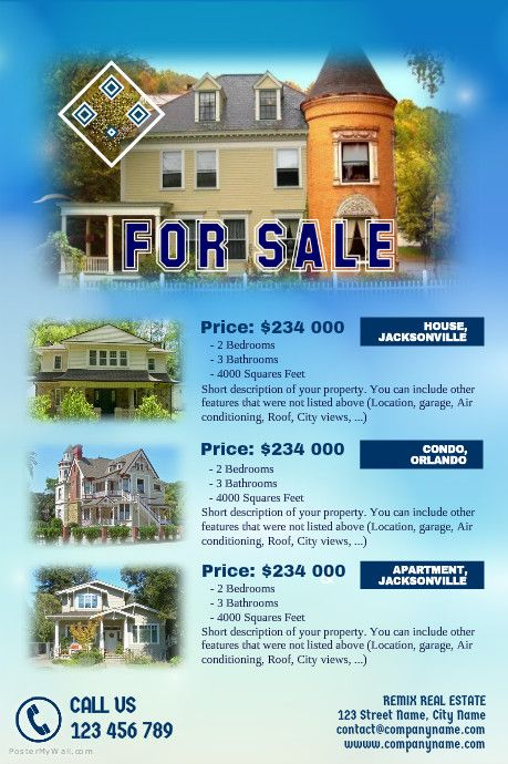 Real Estate Flyers Template With A Blue Sky Background Httpwww