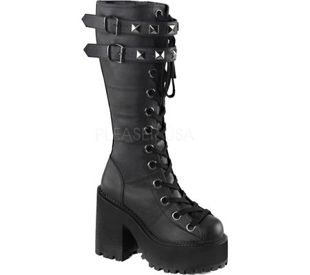 Women's Demonia Assault 202 Boot - Black Vegan Leather with FREE Shipping & Exchanges. Be bold and fresh in the Assault 202 lace-up knee high boot with interchangable laces, double buckle