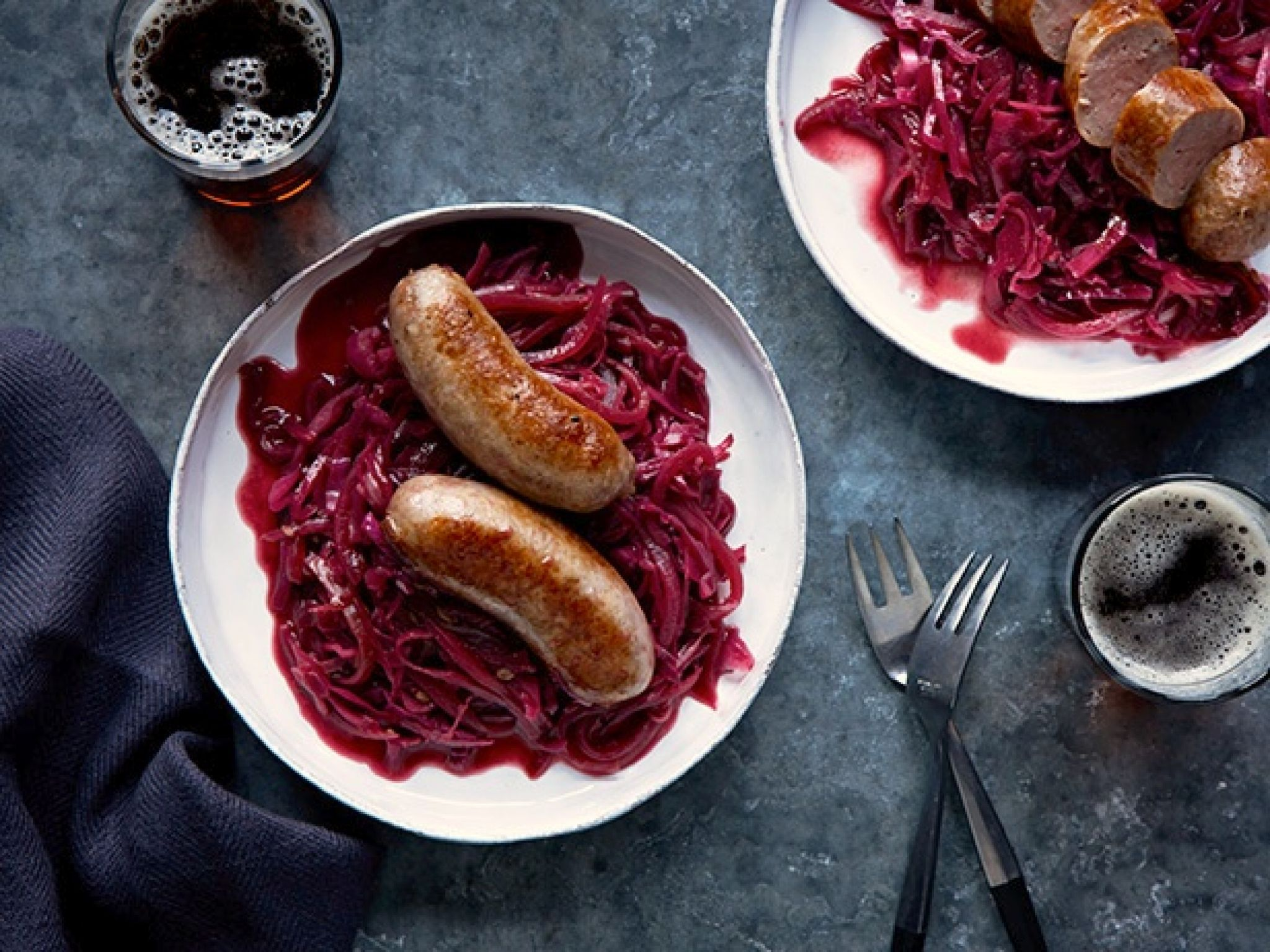Our Chopped Dinner Challenge this week was acai juice. We wanted to highlight the earthy flavors and use the purple pigment to bring a hit of color to the dish, so we paired it with red cabbage and sausages. Chopped Basket Ingredient: acai juice  Read more at: http://www.foodnetwork.com/recipes/food-network- Bratwurst with Sweet-and-Sour Cabbage recipe from Food Network