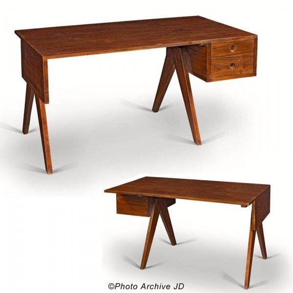 Pierre JEANNERET Bureau en teck massif furniture Pinterest