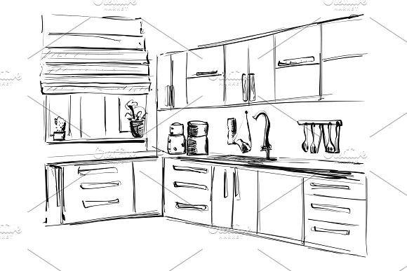 Kitchen interior drawing, vector illustration. Furniture