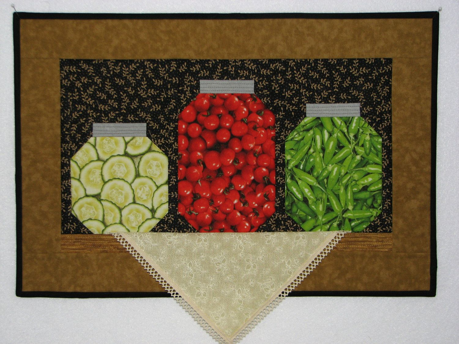 Folk Art Quilted Wall Hanging, Harvest Canning Pantry Shelf Still ... : handmade quilted wall hangings - Adamdwight.com