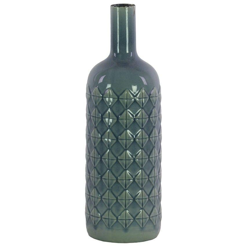 Ceramic Bottle Vase With Embossed Diamond Pattern Large Light Blue Benzara Vases Decor Ceramic Vase Wooden Vase