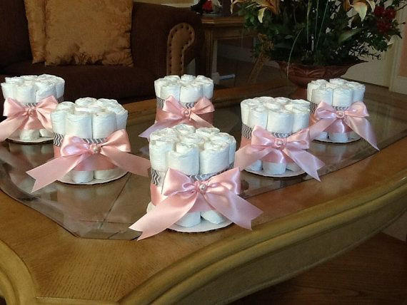 Diaper Cake Set Of 6 Diaper Cakes Baby Girl Shower Pink And Gray