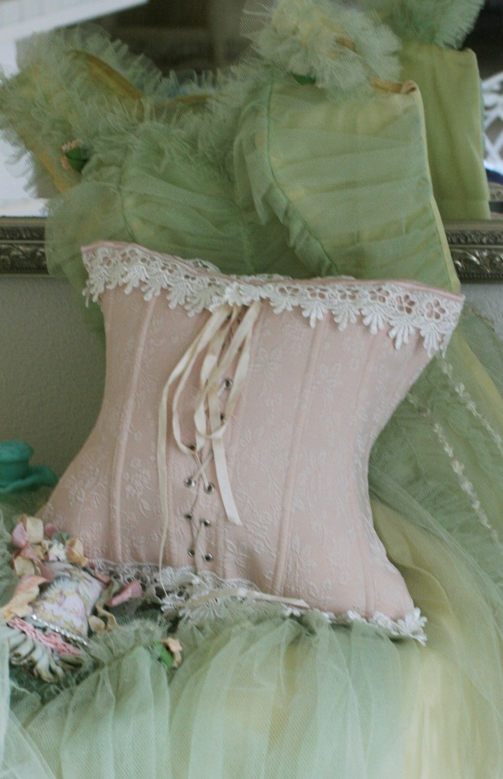 Corset pillow shabby chic rustic french country bedroom decor idea