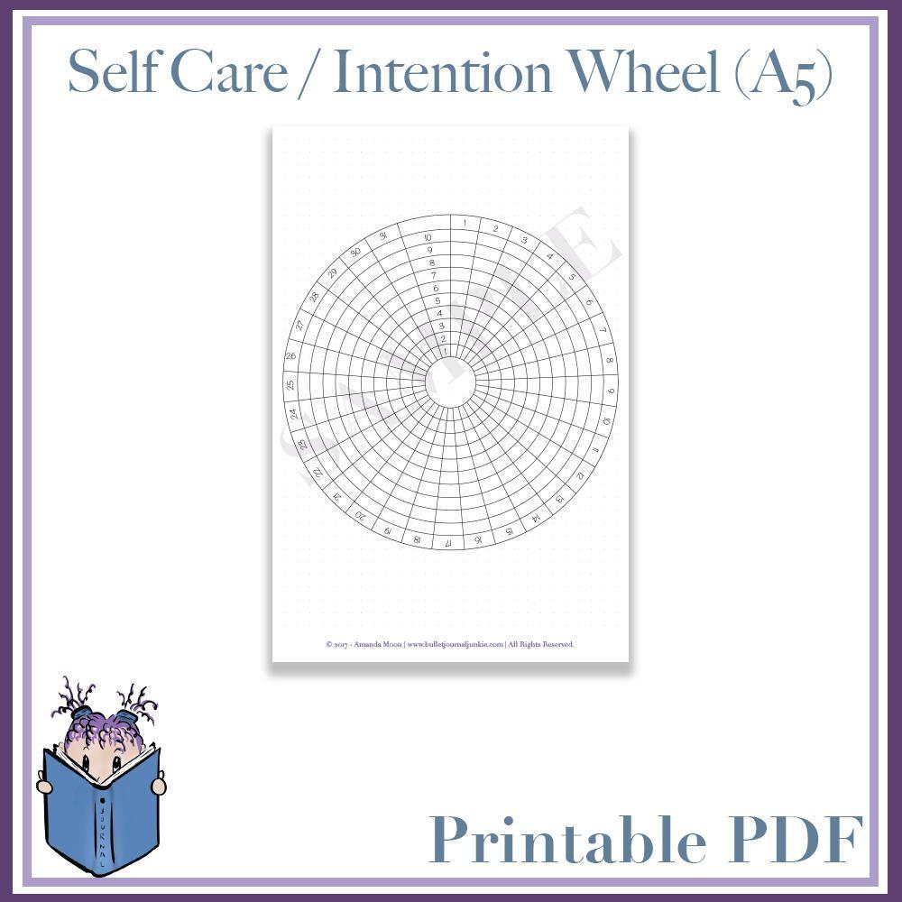 Calendar Wheel Bullet Journal : Self care intention wheel calendar planner bullet