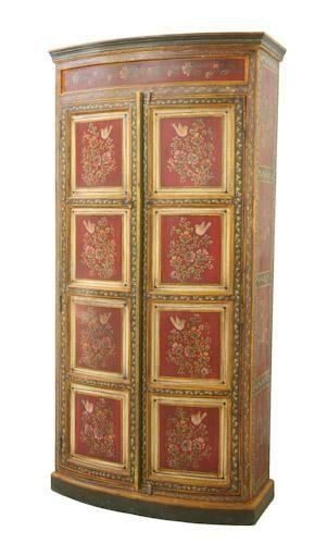 Indian Cupboard Bird Cupboard Rajasthani Cupboard Bow Fronted Cupboard Indian Painted Cupboard Iris Painted Furniture Wood Artwork Hand Painted Furniture