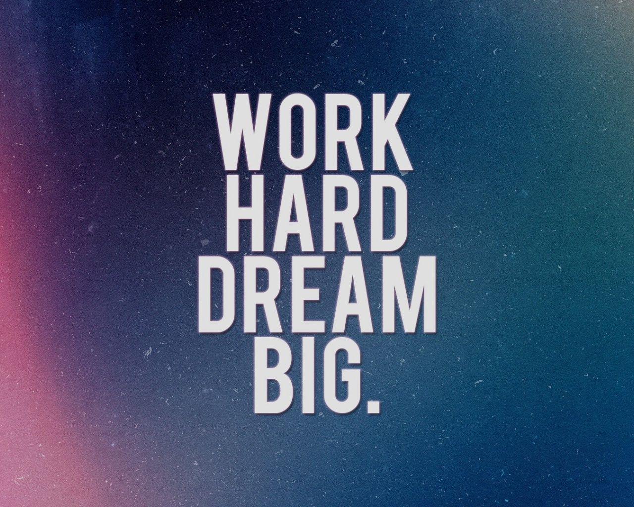 Work Hard Dream Big Motivational Quotes Wallpaper Work