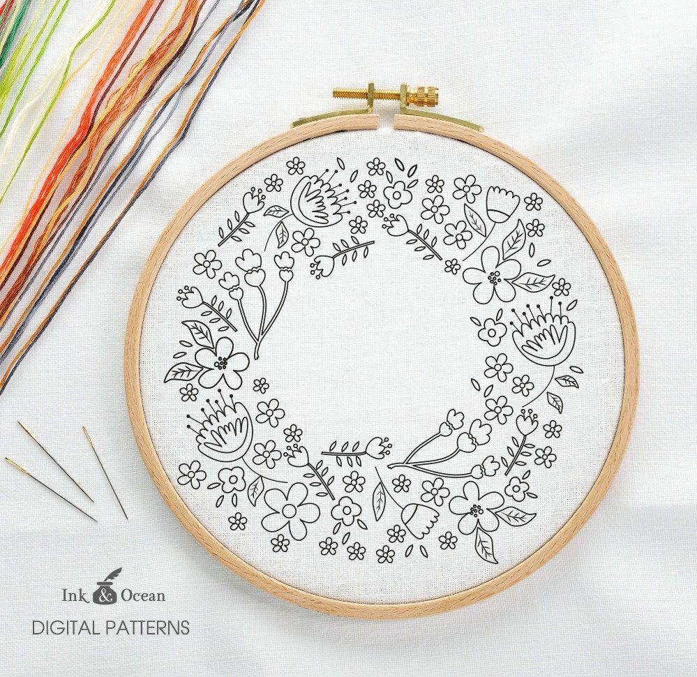 Floral wreath sampler digital hand embroidery pattern pdf instant