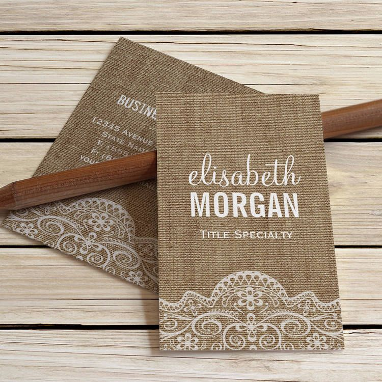 shabby burlap with elegant lace retro rustic business cards - Rustic Business Cards