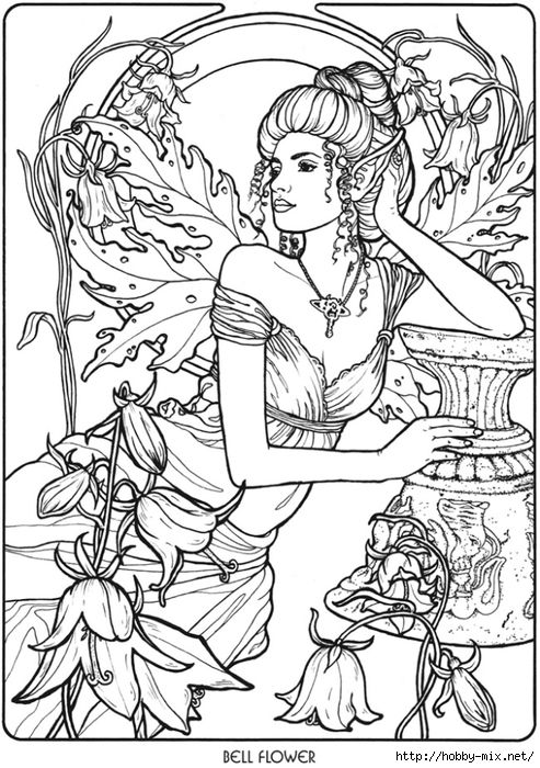 Advanced Coloring Pages Of Fairies : Bellflower fairy fae fantasy myth mythical mystical legend