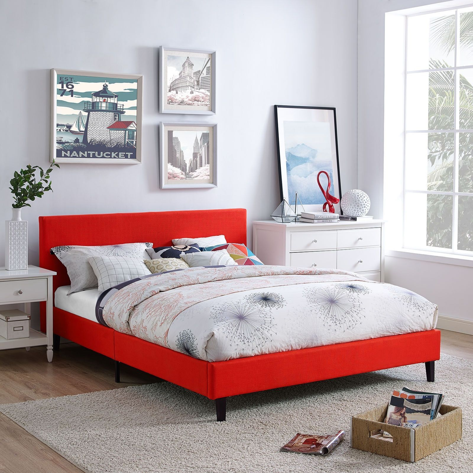 modway anya queen bed frame atomic red beige off white bed